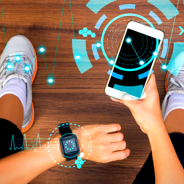 female in activewear, holding her mobile phone and looking at her smartwatch to monitor her health, with digital concept overlay
